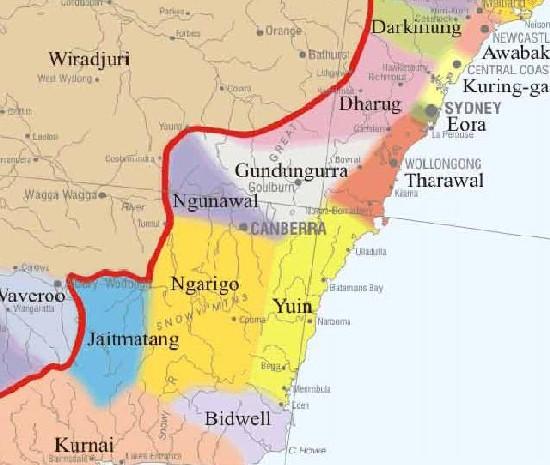 Indigenous zones around Canberra
