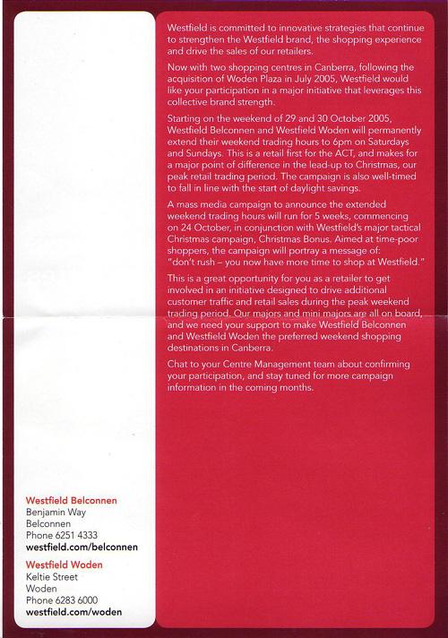 Westfield extended hours brochure