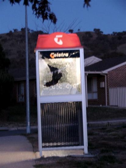 Broken phone booth in Banks