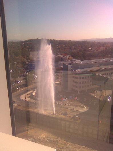 Fountain from the IP Australia Health corner of Furzer St (Woden)