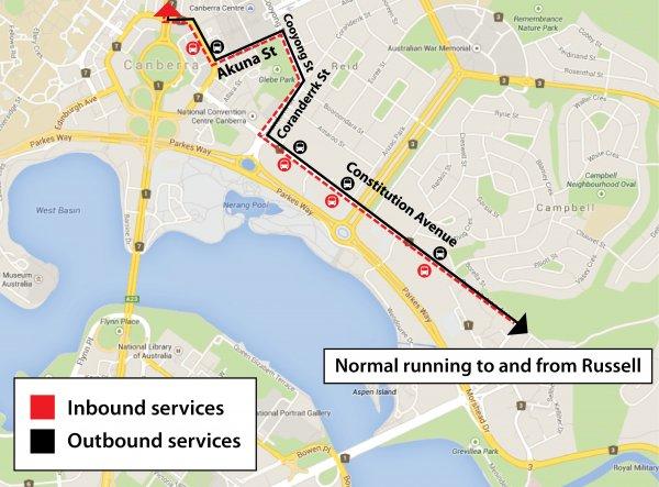 Constitution Avenue diversion map