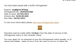 Traffic infringement notice scam