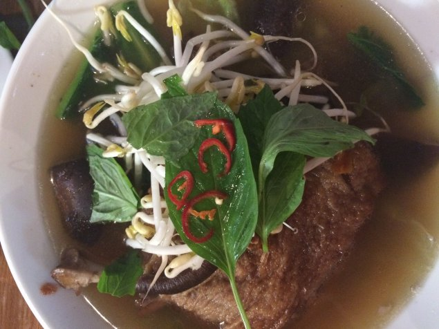 pho hub duck noodle soup garnish