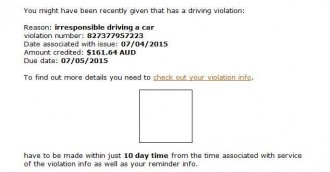 Another traffic infringement notice scam