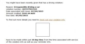 Another traffic infringement notice scam