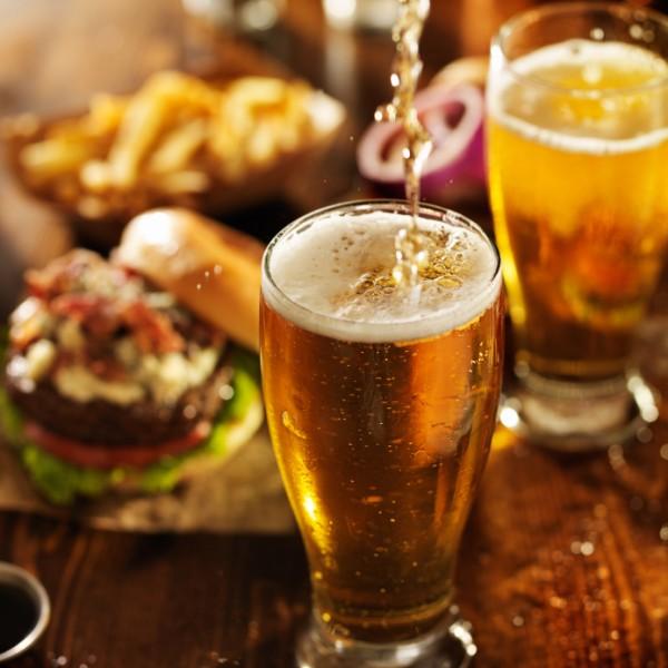beer and burgers at pub