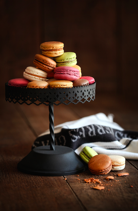 macaron stand at terrace cafe