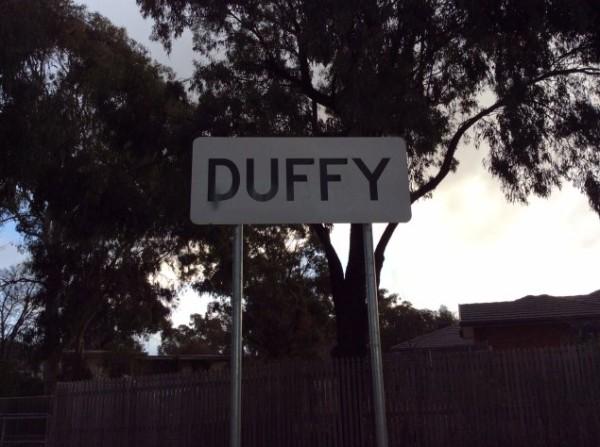 duffy suburb sign