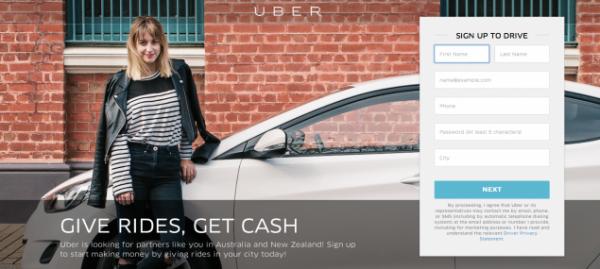 Uber website