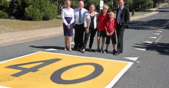 8216 Dragon  8217 s teeth  8217  road markings for school zones at Macquarie  Macgregor