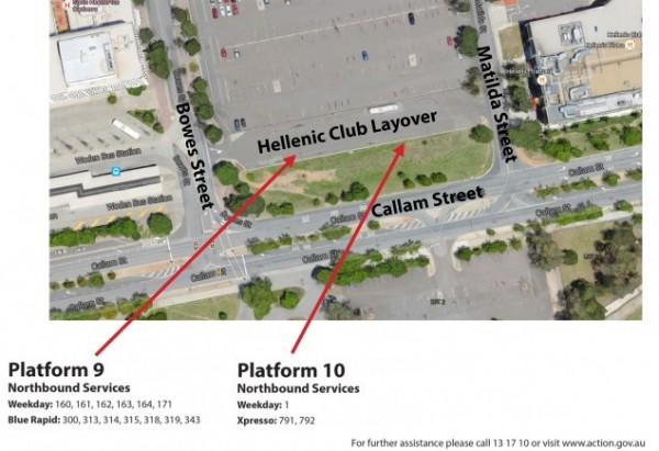 Woden bus station platform closures