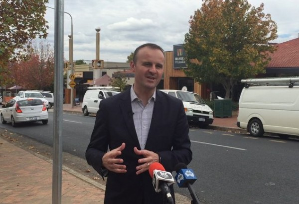 Andrew Barr launching smart parking at Manuka.