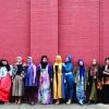 Muslim fashion bloggers Delina Darusman-Gala and Mya Arifin with a group of friends.  Photo: Marinco Kojdanovski  © Museum of Applied Arts and Sciences, Sydney.