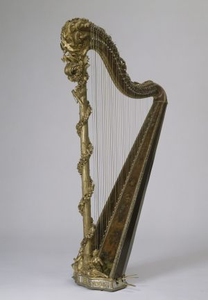 John Henry Naderman. Marie-Antoinette's harp 1775. Gilded and painted wood, metal, bronze, pearl and glass beads.