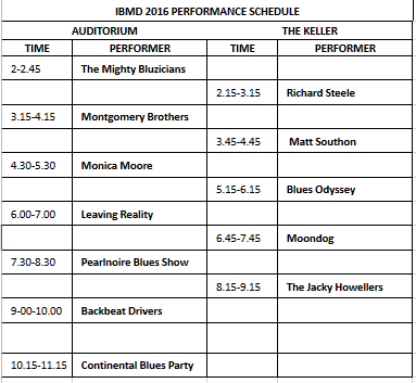 Performance schedule 2016