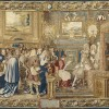 Tapestry: Manufacture des Gobelins, after Charles Le Brun. The audience with Cardinal Chigi, 28 July 1664 from the series Life of the King. Wool, silk and gold thread.