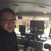 John Peti in mobile speed van