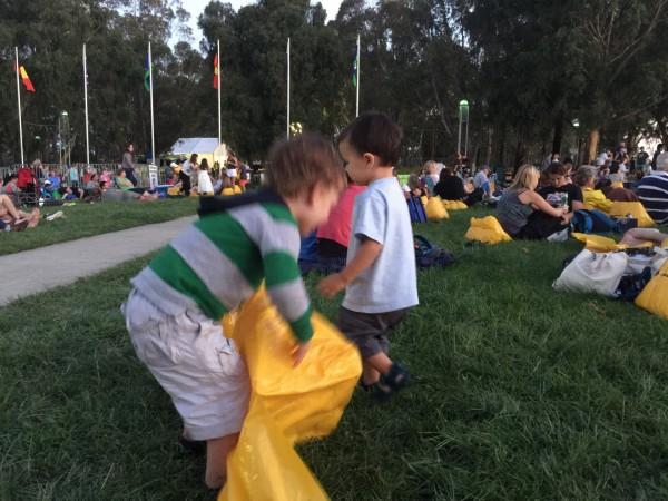 Children prepare for the Australia Day Live event.