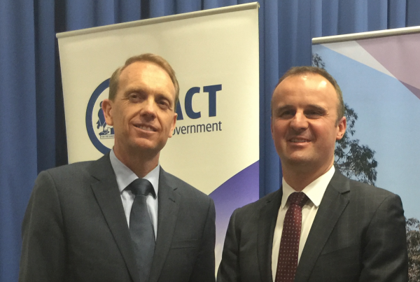 Simon Corbell and Andrew Barr in February 2016.