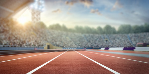 Olympic stadium with running tracks from iStock