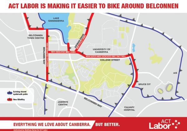 Belconnen Bikeway map