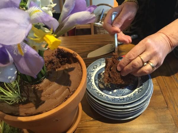 Chocolate flower pot cake