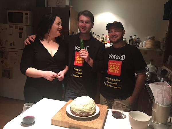 Australian Sex Party candidates Venus de Siren, Steven Bailey and Andrew Dewson.