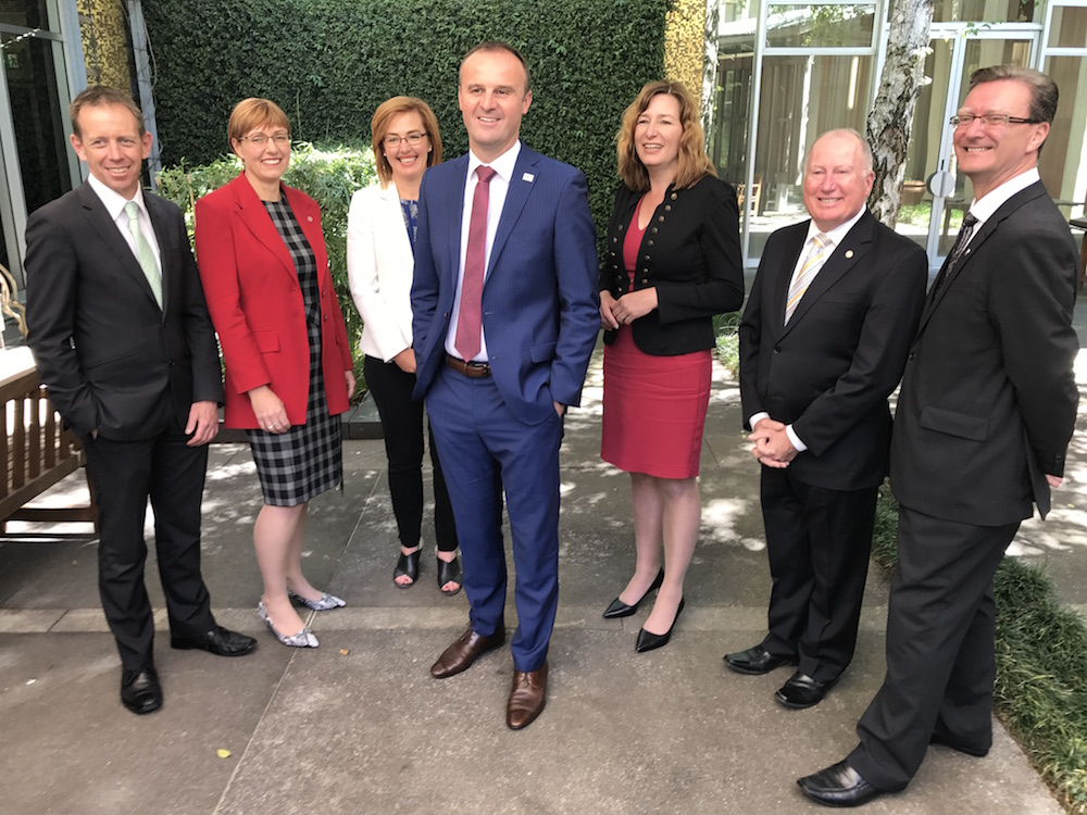 ACT Chief Minister Andrew Barr with cabinet ministers Shane Rattenbury, Rachel Stephen-Smith, Meegan Fitzharris, Yvette Berry, Mick Gentleman and Gordon Ramsay. Photo: Charlotte Harper