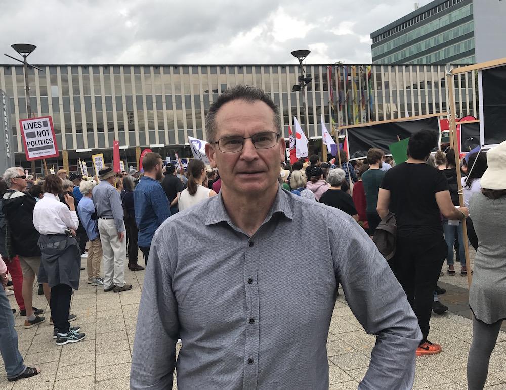 Jon Stanhope at today's rally. Photo: Charlotte Harper