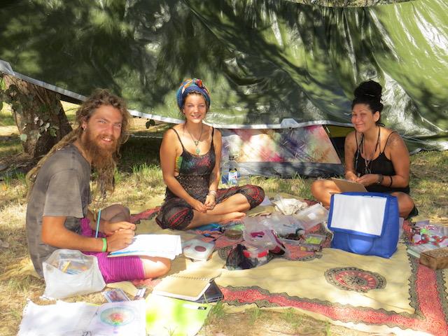 Backpackers Love Wolf, Melinda Blum and Serena Serra await the cherry harvest to begin. Photo: John Thistleton