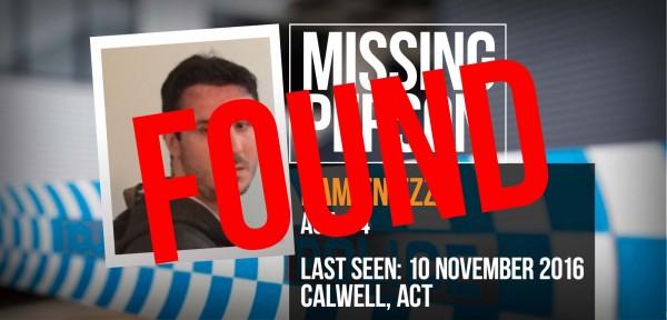 Missing person Damien Ezzy found