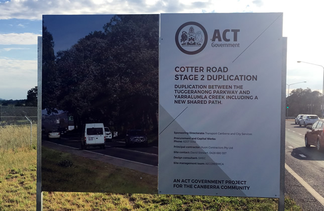 Cotter Road duplication