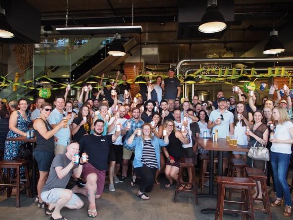 Patrons and staff celebrate BentSpoke Crankshaft winning number 8 in Hottest 100 beers