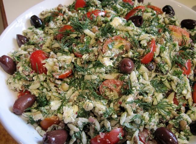 Risoni, lentil and feta salad