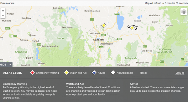 A map showing fires near the ACT as at 3.45pm on January 18. Source: NSW RFS