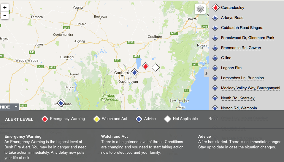 NSW RFS map as at 2pm on January 17.