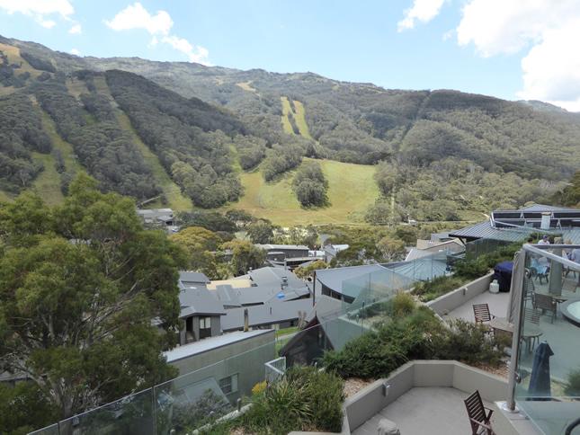 View over Thredbo ski runs from Lantern Apartments