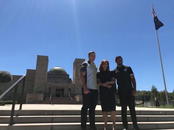Raiders players Shannon Boyd (Kangaroos) and Jordan Rapana (Kiwis) with ACT Sports Minister Yvette Berry. Photo: Charlotte Harper