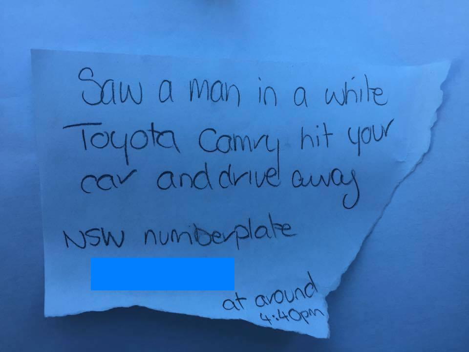 ANU car park note