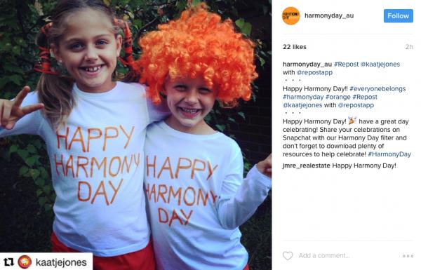 Harmony Day Instagram post.