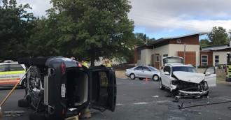 SUV rolls in two-car collision at Narrabundah