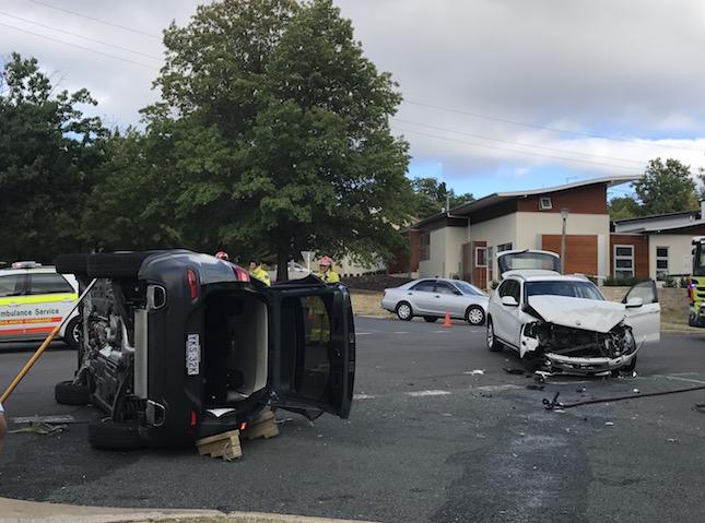 The scene of the accident on Caley Crescent in Narrabundah. Photo: Charlotte Harper