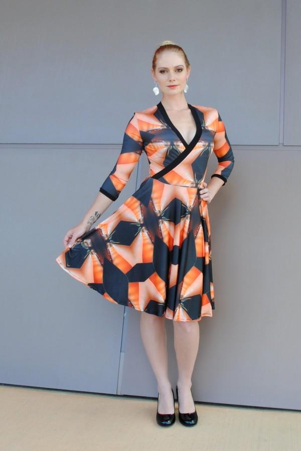 Museum print_Cross front dress 3