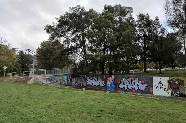 View across green grass towards drain with graffiti art, looking towards Callam Street offices and trees