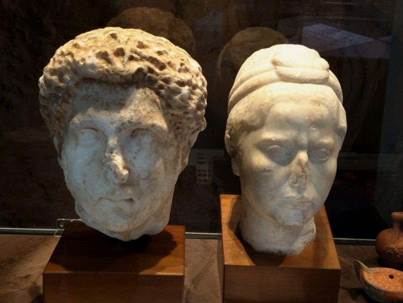 Marble portrait heads of Roman nobility.
