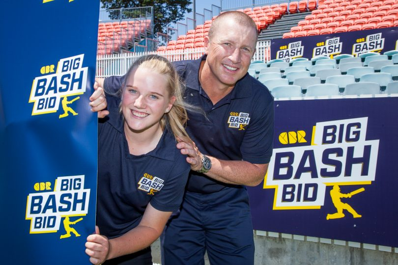 CBR Big Bash Bid Ambassadors Lauren Phillips and Brad Haddin. Photo: Doug Dobing.