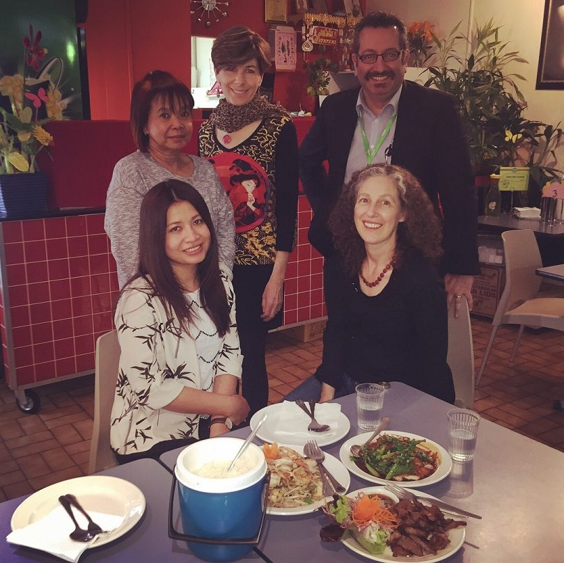 Canberra foodies (back row): Thip (Owner of Thip's Thai), Michele Walton (Food and Travel Secrets, Elias Hallaj (CBR Foodie), (front row): Charinya Ruecha (Charinya's Kitchen) Elissa Steel ( Five Beans Food) at Thip's Thai in Belconnen.