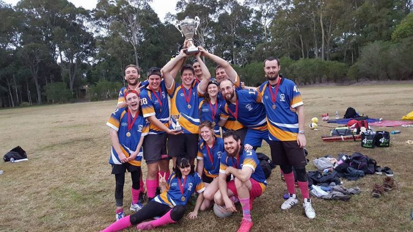 The victorious ANU Owls, the only Canberra-based Quidditch team. Photo: Quidditch Australia.