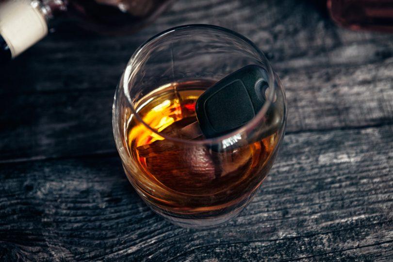 car keys inside drink.