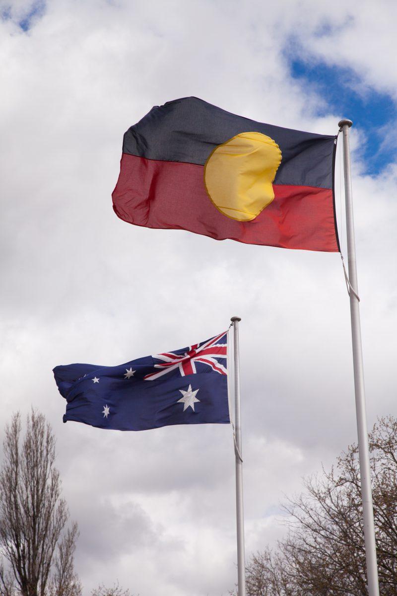 Australian flag and Aboriginal flag